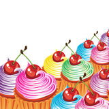 Border of cakes with cream and cherries. stock illustration