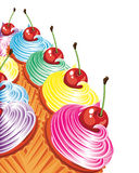Border of cakes with cream and cherries. royalty free illustration