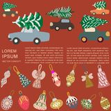 Border with cars delivering Christmas trees and decorations on brown background. Space for text. Flat style illustration. Greeting card, poster, design element stock illustration