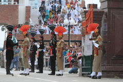 The Border Ceremony of Attari Stock Images