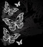 Border with chalk butterflies Royalty Free Stock Photos