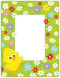 Border with a chick. Vertical vector frame with a little yellow chicken and flowers Royalty Free Stock Photos