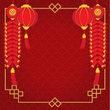 Border of Chinese New Year and have pig, lantern and firecracker with red pattern background stock illustration