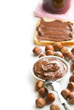 Border with chocolate spread in bowl Stock Image