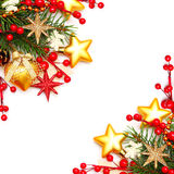 Border - Christmas background. With red berry and gold decorations Royalty Free Stock Photo