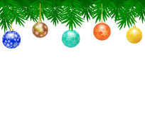 Border from Christmas balls. Border made of fir branches and Christmas balls Stock Photography