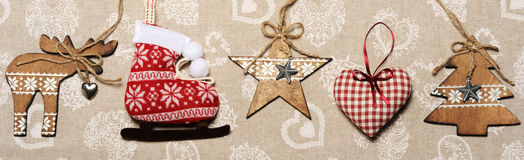 Border of christmas decoration Stock Photos
