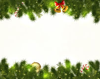 Border Christmas decorations on white premise. The branches of a Christmas tree with red baubles, green stars, snowflakes isolated on white-horizontal boundary Stock Photo