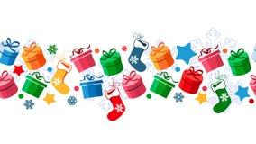 Border with Christmas gift boxes. And santa socks vector illustration