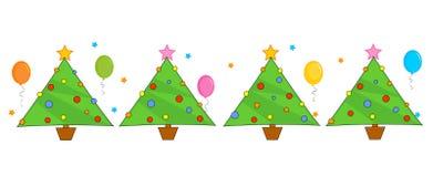border christmas line trees διανυσματική απεικόνιση