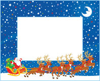 Border with Christmas Sleigh of Santa Claus. Horizontal vector border with Magic reindeers flying Father Christmas with a big sack of gifts in his sleigh on royalty free illustration