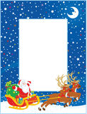 Border with Christmas Sleigh of Santa Claus. Vertical vector border with Magic reindeers flying Father Christmas with a big sack of gifts in his sleigh on stock illustration