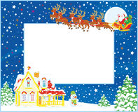 Border with Christmas Sleigh of Santa stock illustration