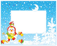 Border with a Christmas Snowman Royalty Free Stock Photography