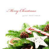 Border with Christmas tree branches Stock Photo