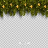 Border with Christmas tree branches and ornaments with balls and light. Isolated on transparent background. Vector Stock Photo