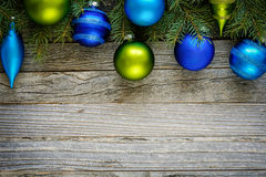 Border of Christmas Tree Branches with Ornaments Stock Photography