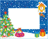 Border with Christmas tree and gifts Stock Image