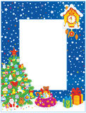 Border with Christmas tree and gifts Royalty Free Stock Image