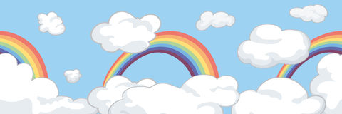 Border with clouds and a rainbow. For kids Stock Images