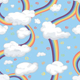 Border with clouds and a rainbow. For kids Royalty Free Stock Image
