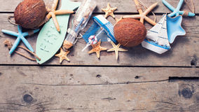 Border from  coconuts and marine items Stock Photography