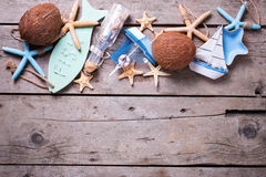Border from  coconuts and marine items Stock Images