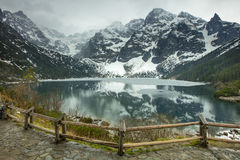 Border before cold lake in mountaine Royalty Free Stock Photography