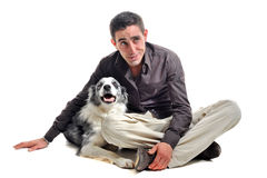 Border collie and man Stock Photo
