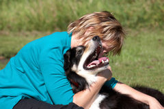 Border Collie and owner Royalty Free Stock Images