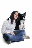 Border collie and woman Royalty Free Stock Image