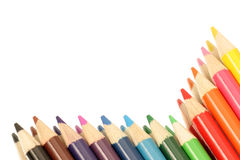 Border of color. Colored pencils framing half the page royalty free stock image
