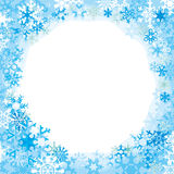 Border from colored snowflakes. Light color, template for congratulations Royalty Free Stock Photo