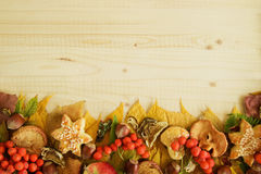 Border from colorful autumn leaves, mushrooms, rose hips, rowanberry, apples, nuts and cookies on the wooden background. Royalty Free Stock Images