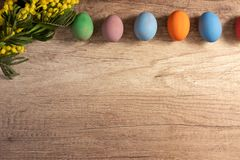 Border of colorful decorated Easter eggs stock photography