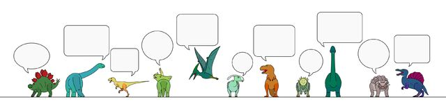 Colorful dinosaur with speech bubbles border. Border of colorful dinosaur with speech bubbles Royalty Free Stock Images