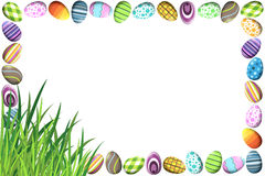 Border with Colorful Easter Eggs. A border made of colorful easter eggs in different patterns and grass in the bottom left corner Stock Photos