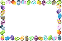 Border with Colorful Easter Eggs. A horizontal border (frame) border made of colorful easter eggs in different patterns Royalty Free Stock Photos