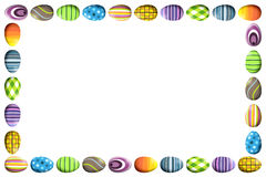 Border with Colorful Easter Eggs. A horizontal border (frame) border made of colorful easter eggs in different patterns Royalty Free Stock Photography