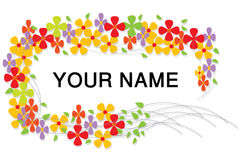 Border with Colorful Flowers. And extra area to add text or other images - illustrated  art work Royalty Free Stock Photography