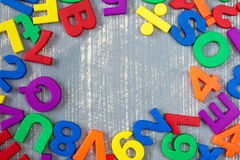 Border of colorful  letters and numbers. Stock Image