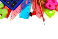 Border of colorful math themed school supplies. Border of colorful school supplies with math theme on a white background Stock Image
