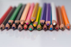 Border of colorful pencil crayons. Viewed in colorful artistic display Stock Image