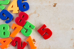 Border of colorful toy numbers Stock Photos