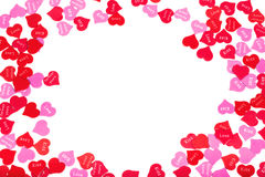 Border of colorful Valentines Day paper hearts Stock Photography