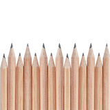 Border composition from natural wooden pencils Royalty Free Stock Image