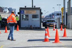 Border control checking the immigration at harbour Stock Images