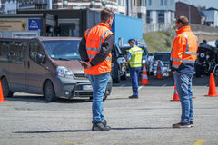 Border control checking the immigration at harbour Royalty Free Stock Photo