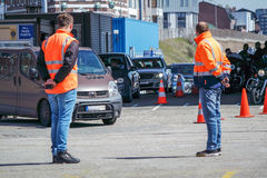Border control checking the immigration at harbour Stock Photos