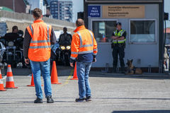Border control checking the immigration at harbour Stock Image